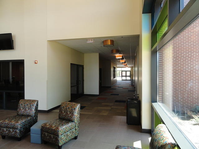 The hallway to the conference rooms.
